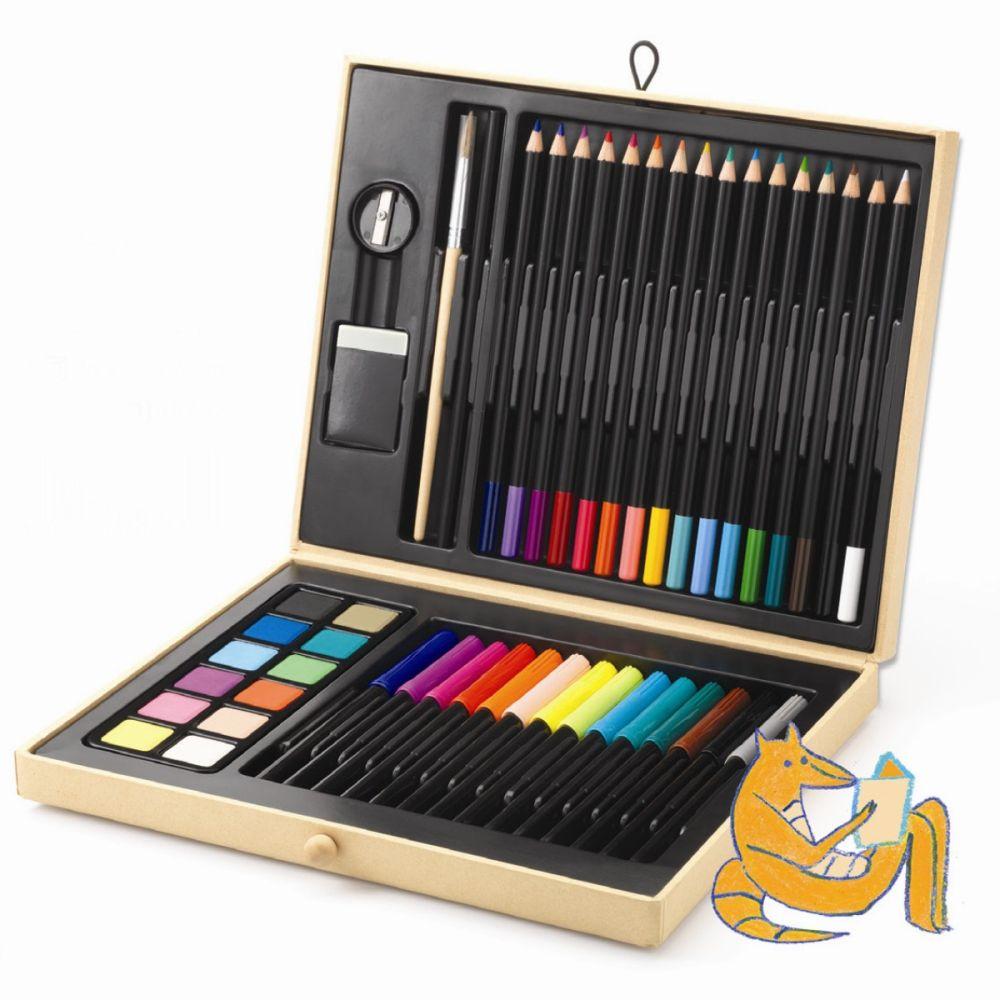 Djeco Kuffert med farver 47 dele