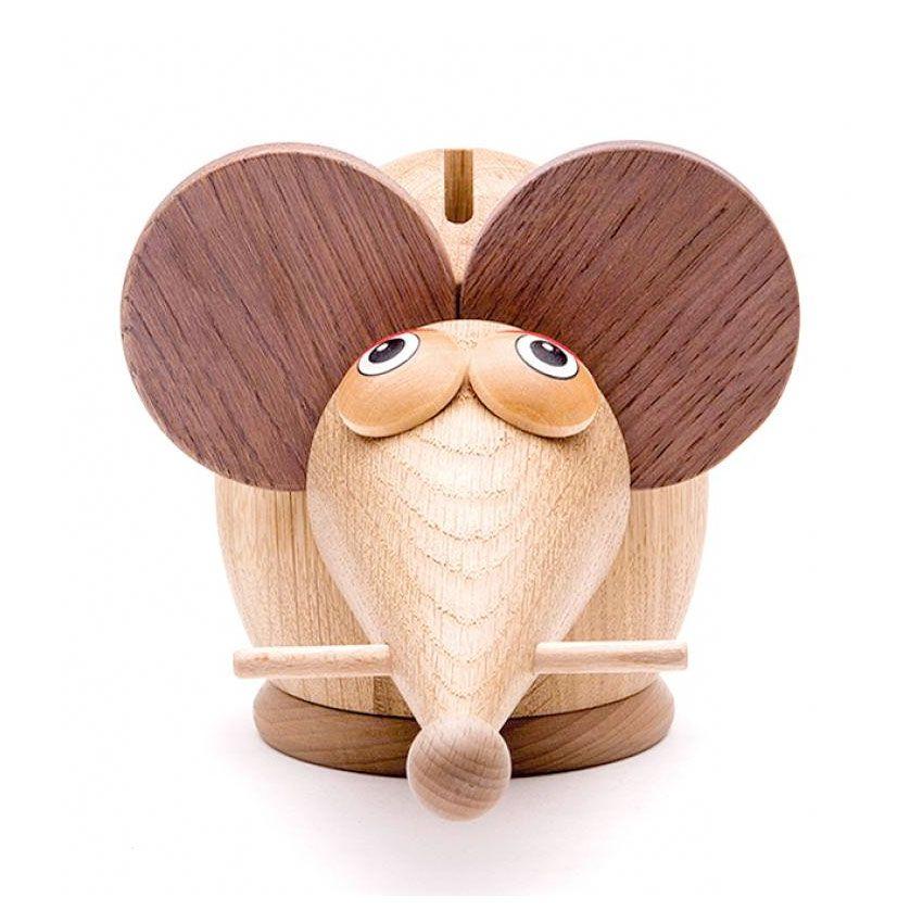 Sparebøsse i træ mus træk den i halen